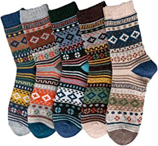Mens Wool Socks,5 Pairs Men Ethnic Vintage Colorful Stripes Print Crew Socks Winter Cozy Soft Warm Thick Knitted Faux Wool...