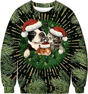 Unisex Ugly Christmas Sweatshirt Men Women Novelty Sweater 3D Print Design Funny Xmas Pullover Crewneck/Hoodie
