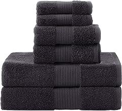 مناشف حمام من Simba&Coco مصنوعة من القطن فائق النعومة بنسبة 100% ذات قدرة عالية على الامتصاص، مجموعة من 6 مناشف للحمام (أسود)