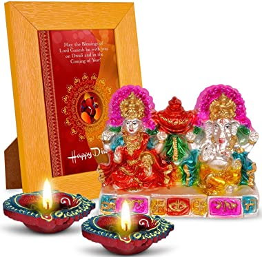 May The Blessings of Lord Ganesha 2 Diyas, Laxmi Ganesha & Quotation Photo Frame Gift Set