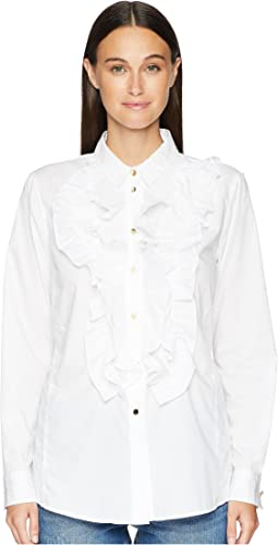 Nill Ruffle Tuxedo Front Long Sleeve Button Up