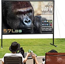 GORILLASPRO Portable Projector Screen 130In with Stand,Front & Rear Projection, Indoor and Outdoor Iron Assembly Heavy Duty Movie Screen,Waterproof and Weather Resistance