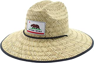 JFH Men's Pierside Wide Brim Straw Sun Hat with Chin Cord