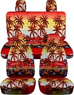 Totally Covers compatible with 2018-2020 Jeep Wrangler JL Hawaiian Seat Covers: Red w Palm Tree - Full Set: Front & Rear (...
