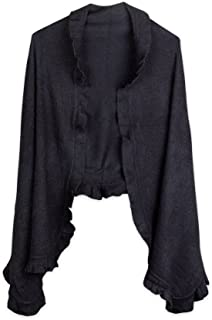 Women's Cashmere-feel Knit Shawl Cape with Ruffled Trim