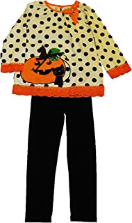 Girls' Two Piece Halloween Outfit F430177, Polka Top with Jack'O Lantern and Black Cat, Sz 7