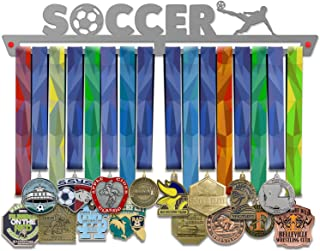 VICTORY HANGERS Soccer Medal Hanger Display V1 - Wall Mounted Award Metal Holder - 100% Stainless Steel Rack for Champions