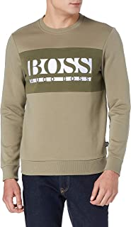 BOSS Mens Salbo 1 Slim-fit Logo Sweatshirt with Colour-Blocking