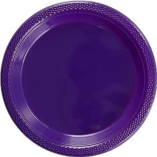 Exquisite 7 Inch. Purple Plastic Dessert/Salad Plates - Solid Color Disposable Plates - 50 Count