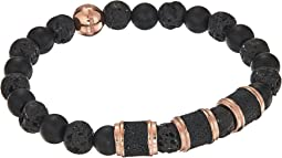 Stainless Steel Lava Stone Stretch Bracelet