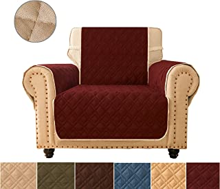 Sofa Cover, Reversible Quilted Furniture Protector, Ideal Loveseat Slipcovers for Pets & Children, Water Resistant, Will Keep your Couch Stain, Dirt&Scratches-Free| Double line checkered grid Burgundy