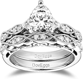 DovEggs Sterling Silver 1.5ct Center 6X8mm G-H-I Color Pear Shaped Cut Vintage/Antique Moissanite Engagement Ring Bridal S...