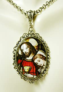 Christ with Saint Mary Magdalene stained glass window pendant and chain - AP09-310