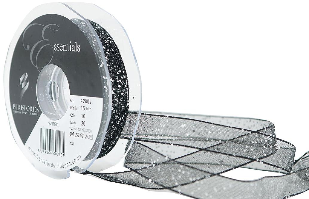 Berisfords Essentials R4280215/10   Black Random Glitter Ribbon   20m x 15mm