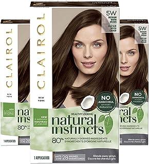 Clairol Natural Instincts Semi-Permanent Ammonia-Free Hair Color, 5W Medium Warm Brown, Cinnamon Stick, Pack of 3