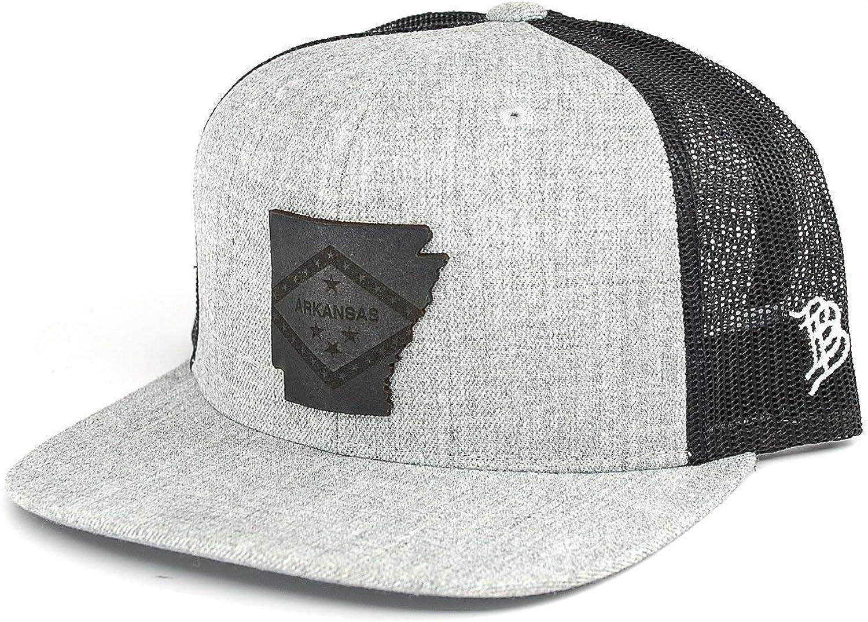 Branded Bills Arkansas 'Midnight 25' Black Leather Patch Hat Flat Trucker