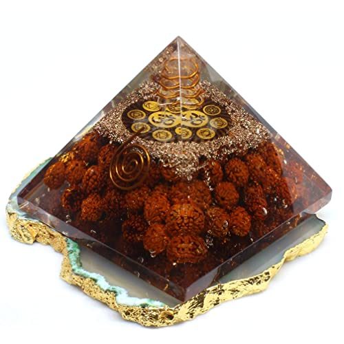 By Agate Jewelry Chakra Om Symbol for Meditation Black Tourmaline Crystal for Orgone Energy Generator Orgone Pyramid Orgonite Pyramids for Emf Protection Chakra Crystal Healing Crystal