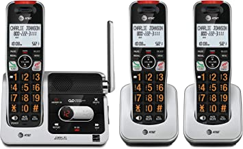 $65 » AT&T BL102-3 DECT 6.0 3-Handset Cordless Phone for Home with Answering Machine, Call Blocking, Caller ID Announcer, Audio ...