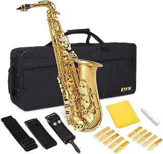 کیت مبتدی برنجی LyxJam Alto Saxophone E Flat Brass Sax، Giftpiece، R گردن بند، تمیز کردن پارچه ردیفی، دستکش، کیس مخصوص حمل و نقل w تسمه های جداشدنی، راهنمای تعمیر و نگهداری 10 نی پاداش
