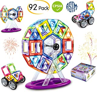 Brightown Magnetic Blocks Building Set for Kids, Magnetic Tiles Educational Construction Toys for Boys and Girls with Gift Box, 92 Pieces