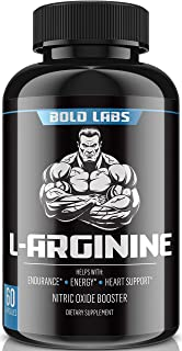 Bold Labs USA Extra Strength L Arginine - 1239mg Nitric Oxide Supplement for Muscle Growth, Vascularity and Energy - L-Cit...