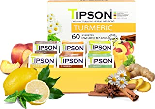 Tipson Organic Turmeric Herbal Tea - 6 Assorted Flavors - 60 Foil Enveloped Double Chambered Bags - Antioxidant Superfood ...