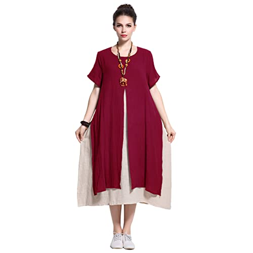 30a47c763b0f Anysize Fake-Two-Piece Soft Linen Cotton Dress Spring Summer Plus Size  Clothing Y110