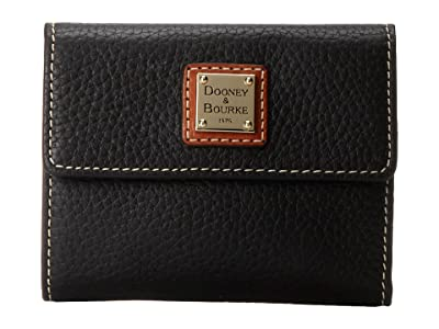 Dooney & Bourke Pebble Leather New SLGS Small Flap Credit Card Wallet (Black w/ Tan Trim) Wallet Handbags