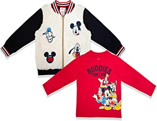 Disney 2PC Boys, Toddler Mickey Mouse Sweatshirt Jacket and Mickey Mouse Shirt