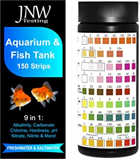 Aquarium Test Strips for Fish Tank 9 in 1, 150 Strip Pack, Test Hardness, Carbonate, Nitrate, Nitrite, pH & More, Accurate...
