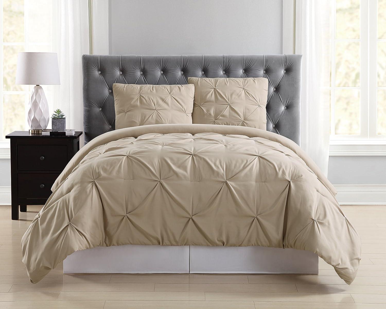 Truly Soft Everyday Pleated Duvet Set, King, Khaki