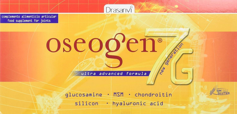 Oseogen 7G 20 viales x 10 ml - Glucosamina, Condroitina, MSM, Ácido Hialurónico y Silicio Drasanvi