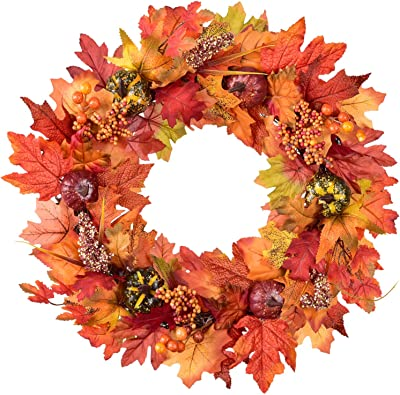 Harvest Wreath for Fall and Thanksgiving Decoration Berries Lvydec Maple Leaves Fall Wreath Pinecone 20 Autumn Door Wreath with Pumpkin Cotton Boll
