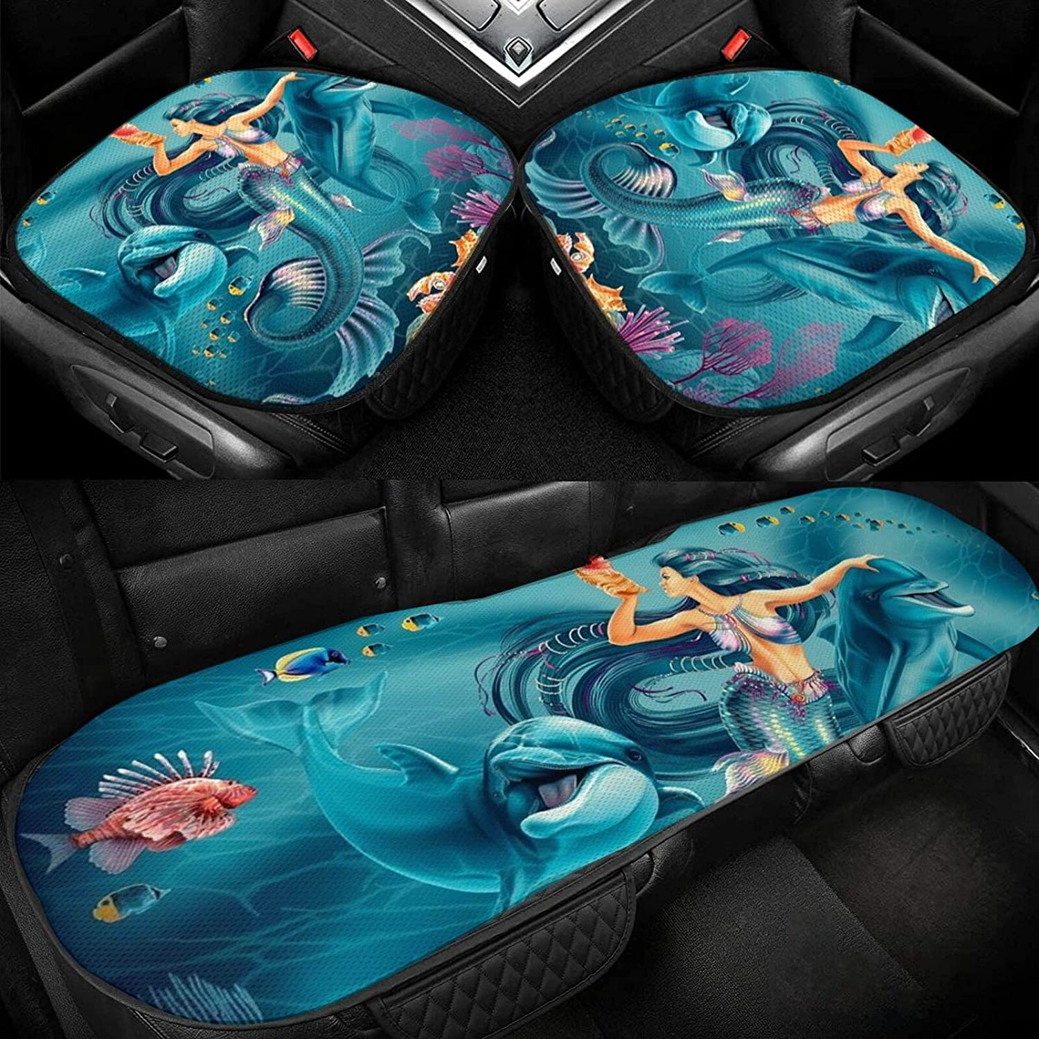 QMLHOME Auto Seat Pad Lowest price challenge Mermaid Car Sea Fishes Dolphins Max 76% OFF Cover