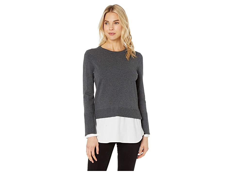 Vince Camuto Long Sleeve Crew Neck Sweater with Cotton Shirting (Medium Heather Grey) Women's Sweater