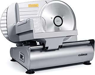 CUSIMAX Food Slicer, Electric Meat Slicer with 7.5'' Removable Stainless Steel Blade and Pusher, Deli Cheese Fruit Vegetab...
