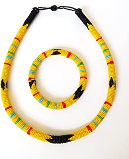 African Zulu beaded necklace and round bracelet set - Yellow - Gift for her