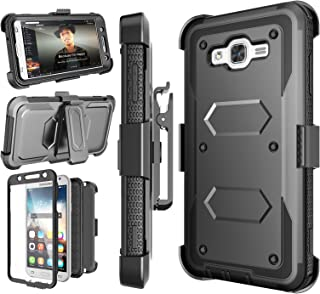 Njjex J7 2015 Case, for Galaxy J7 Belt Case, [Nbeck] Heavy Duty Built-in Screen Protector Rugged Holster Locking Belt Clip Case Cover Shell & Kickstand for Samsung Galaxy J7 2015 SM-J7008 [Black]
