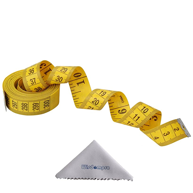 Wisdompro 120-Inch/300cm Soft Tape Measure for Sewing Tailor Cloth, Body Measurement - Indexed in Metric & Standard Units, Convenient 3/4 Inch wide PVC Fiberglass Cloth - Yellow