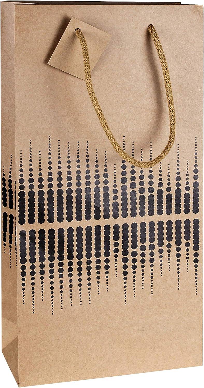 LUDI-VIN - Bolsas de papel de lujo con asas de cuerda, para 2 botellas de vino, 10 unidades