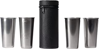 Maxam Stainless Steel 4-Piece Double-Shot Sized Shot Glass Set with Attractive Embossed Carrying Case