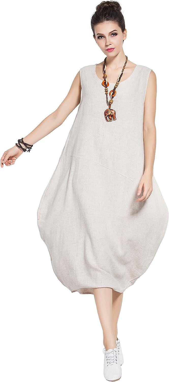 Anysize Sleeveless Soft Linen Cotton Summer Dress Plus Size Dress Y83
