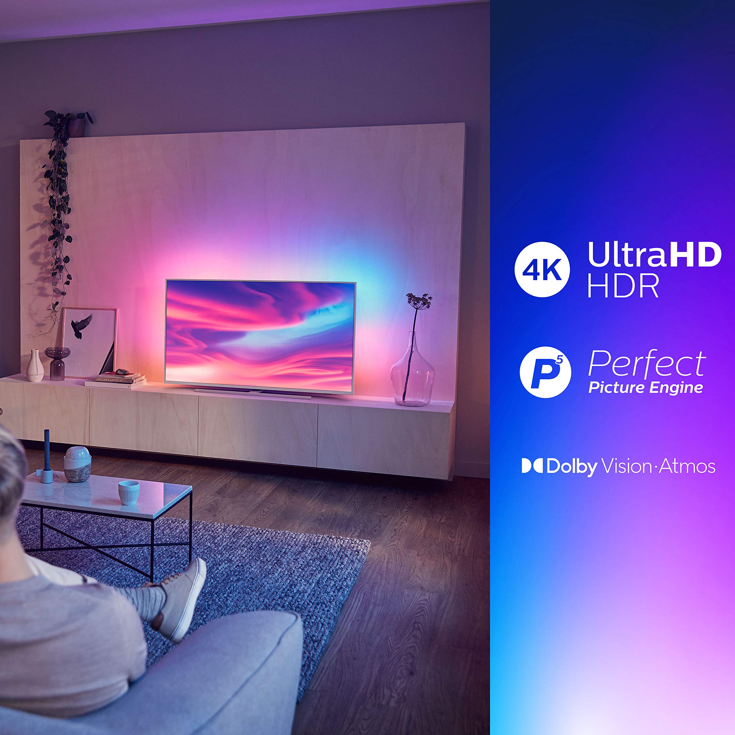 Televisor Philips Ambilight 43PUS7304/12 Smart TV de 108 cm (43 pulgadas) con 4K UHD, LED TV, HDR 10+, Android TV, Google Assistant, Dolby Atmos y compatibilidad con Alexa, color plata claro: Philips: