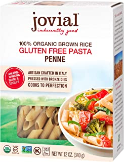 Jovial Penne Rigate Gluten-Free Pasta | Whole Grain Brown Rice Penne Rigate Pasta | Non-GMO | Lower Carb | Kosher | USDA C...
