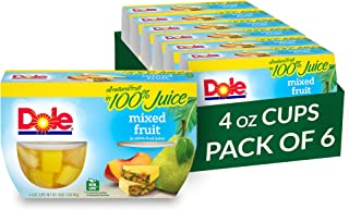 Dole Fruit Bowls, Mixed Fruit in 100% Fruit Juice, 4 Count, 4 Ounce Cups (Pack of 6) - 24 Total Cups