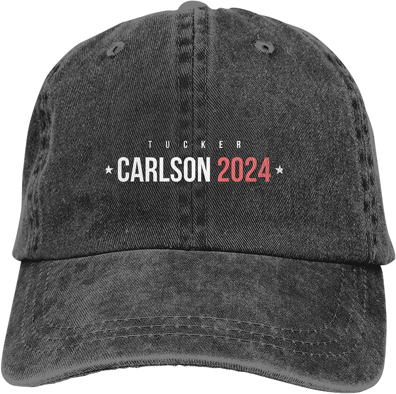 Tucker Carlson 2024 Cowboy Hats Adjustable Classic American Style Hat Sun Hat Baseball Cap for Men and Women Black