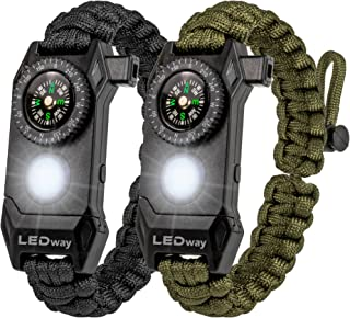 A2S Protection LEDway Paracord Bracelet Tactical Survival Gear Kit 6-IN-1-70% Larger Compass LED SOS Emergency Function Flashlight -Fire Starter Emergency Knife & Whistle