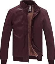 WenVen Men's Winter Stand Collar Moto Bomber Faux Leather Jackets