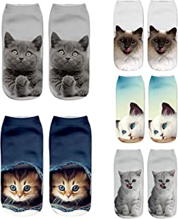 Womens Girls 3D Novelty Colorful Funny Crazy Cute Cartoon Low Cut Ankle Socks