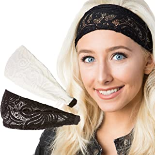 Hipsy Adjustable & Stretchy Lace Xflex Wide Headbands for Women Girls & Teens